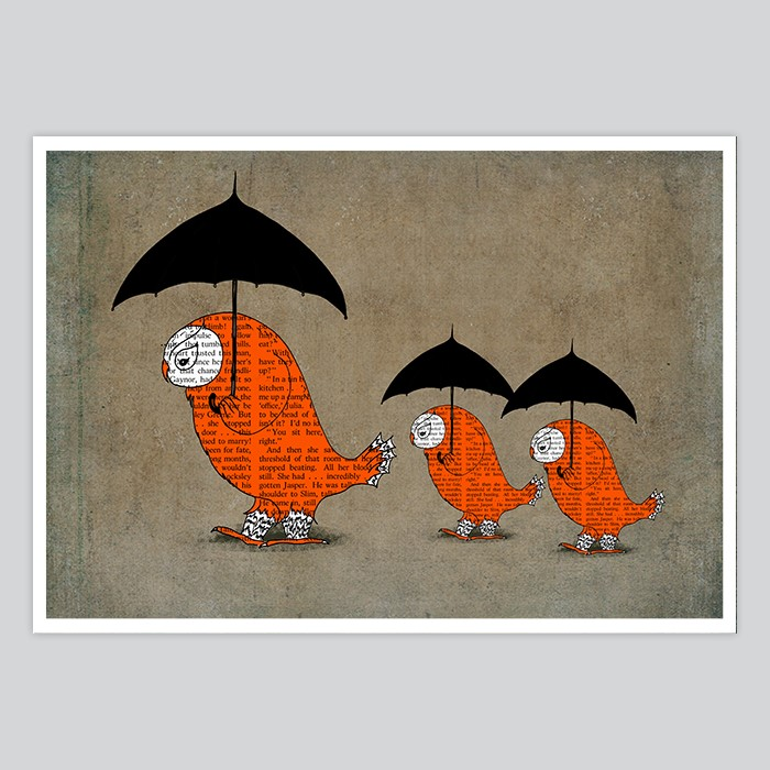 Kids Wall Art Owls With Umbrellas - By Artollo