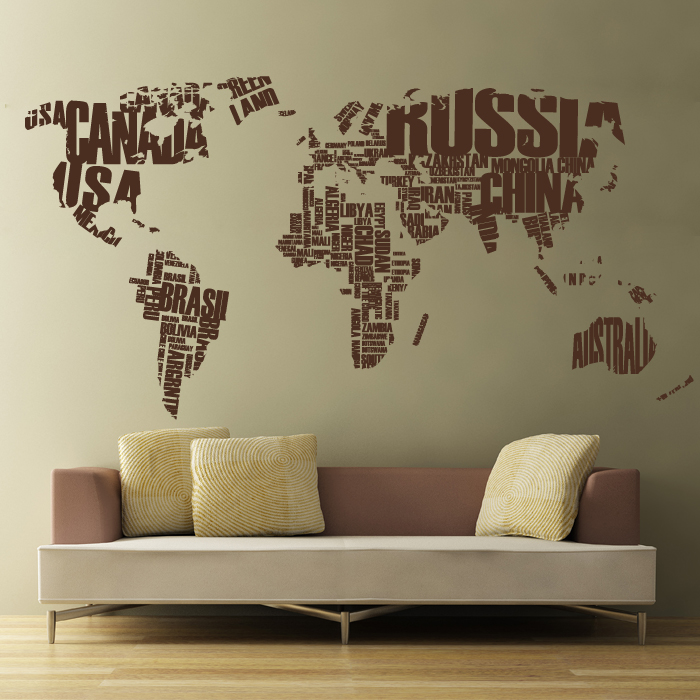 world map in words removable wall decal words wall sticker
