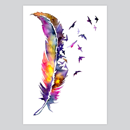 Watercolor Feather Watercolor Art Print F...