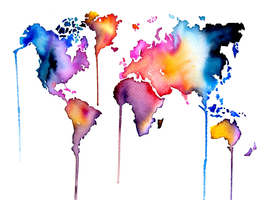 Map watercolor art print by artollo world map watercolor print gumiabroncs Choice Image