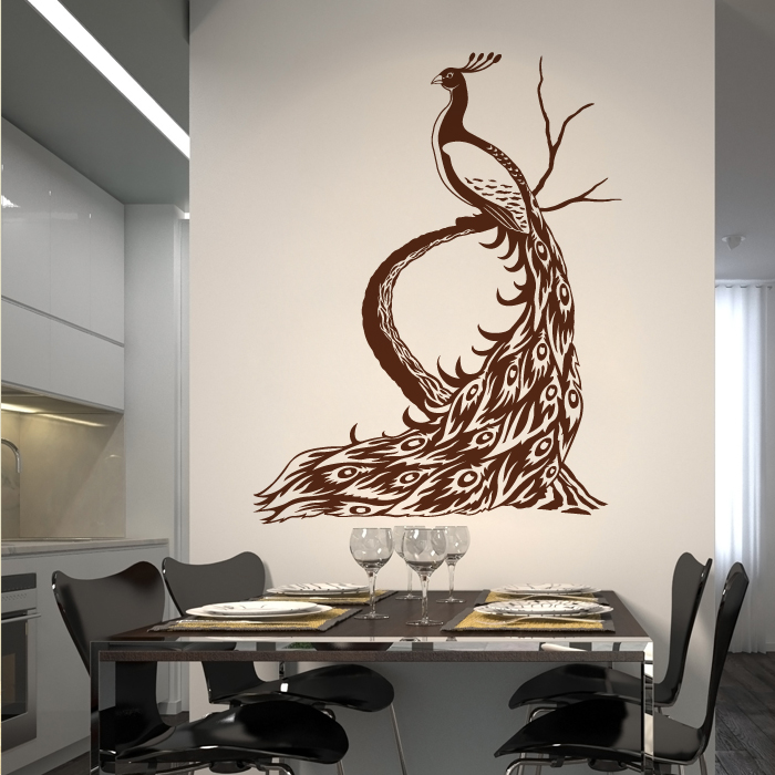 peacock wall decals p wall decal. Black Bedroom Furniture Sets. Home Design Ideas