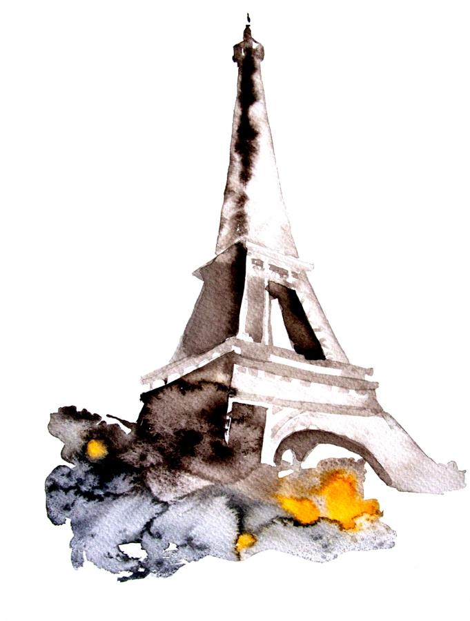 eiffel tower painting watercolor wwwpixsharkcom