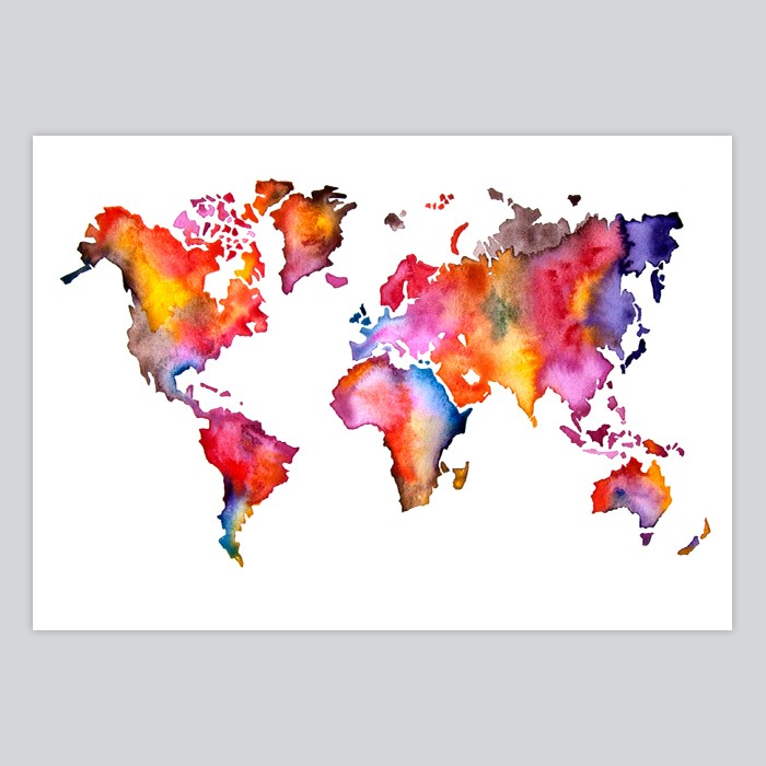 World map watercolor painting by artollo world map watercolor print gumiabroncs Choice Image