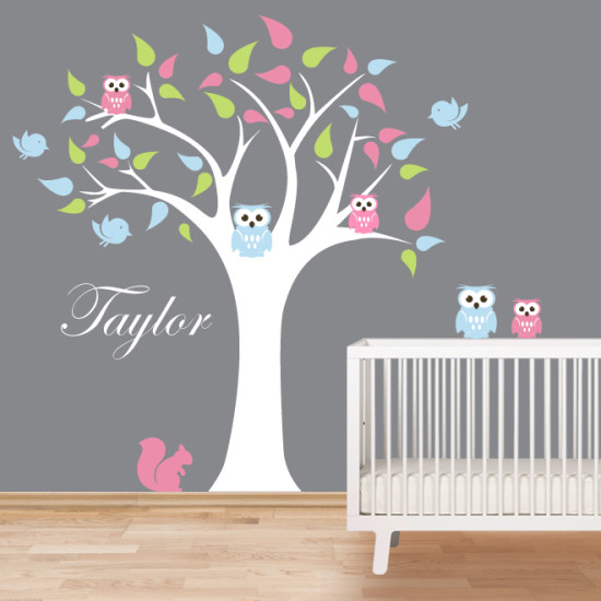 Tree and Owls Wall Decal