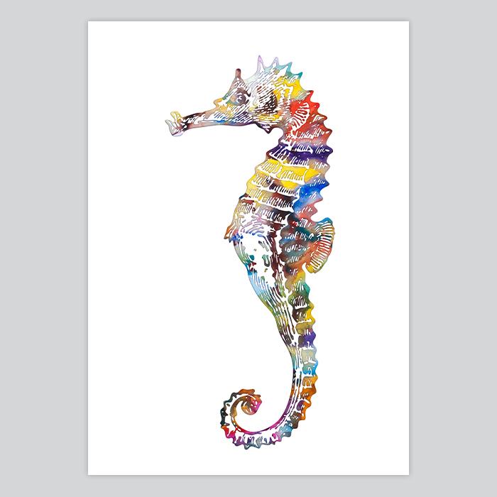 Watercolor Print Seahorse - By Artollo