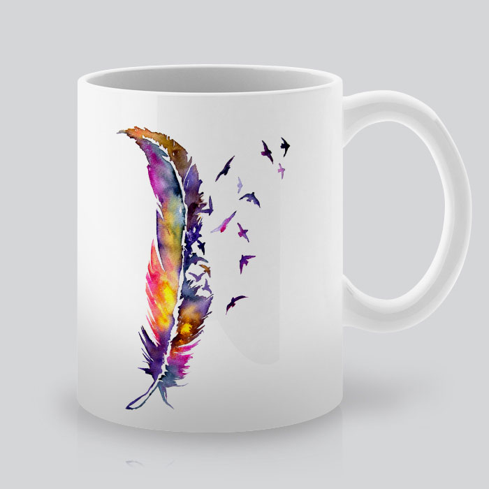printed mugs with bird feather by artollo