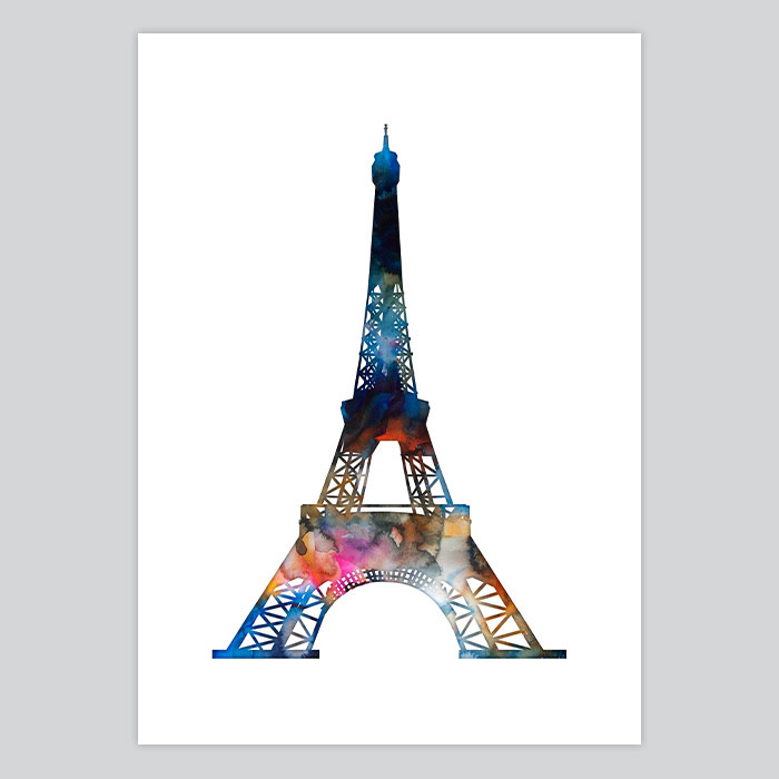 photograph regarding Printable Pictures of the Eiffel Tower named Watercolor Print Eiffel Tower