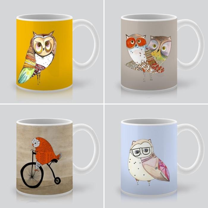 owl mugs, owl art, owl print