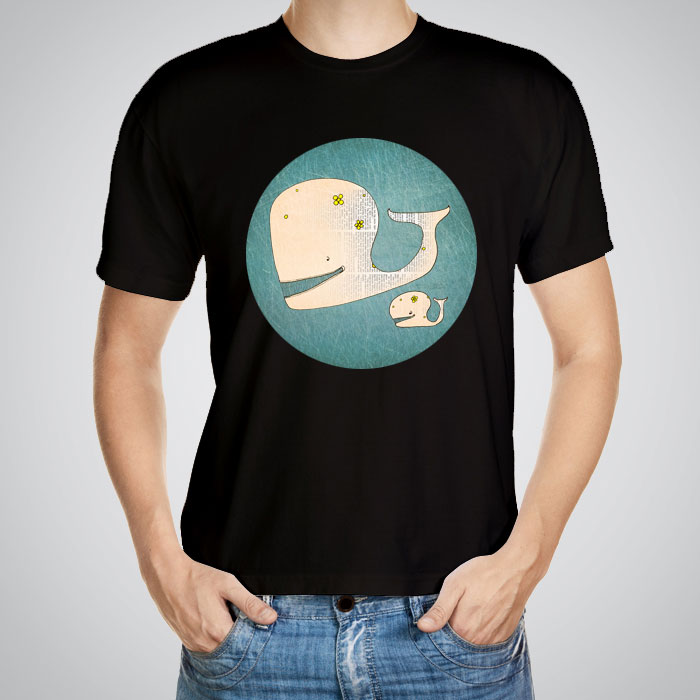 Men 39 S Printed T Shirts Happy Whale Family By Artollo