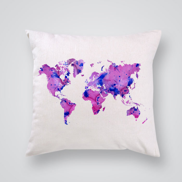 Throw Pillow Cover Pink World Map - By Artollo
