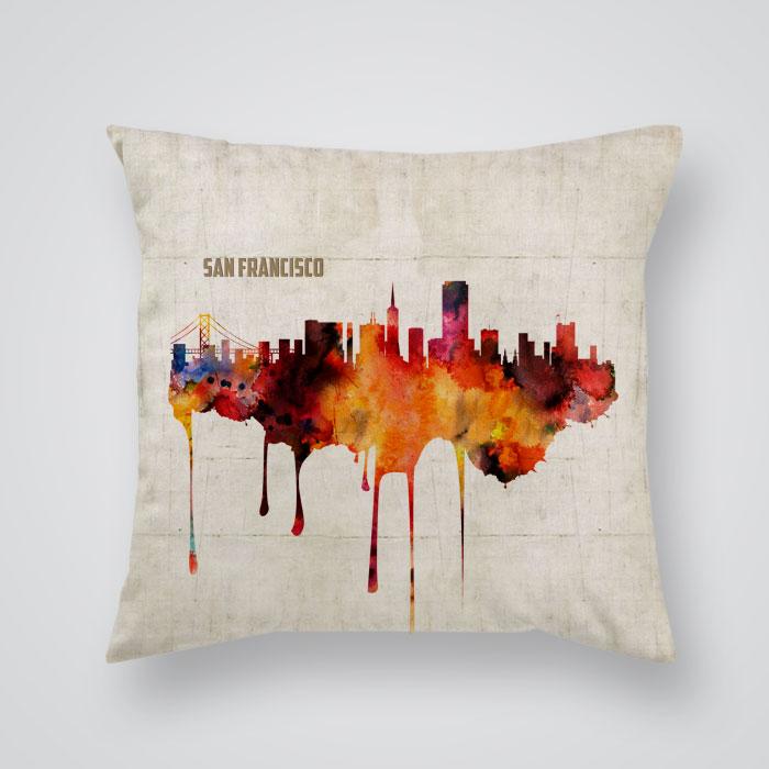Decorative Pillows San Francisco : Throw Pillow Cover View Of San Francisco Print - By Artollo