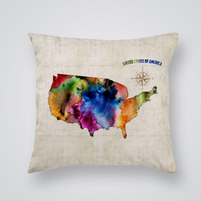 Throw Pillows Usa : Throw Pillow Cover USA Map Print - By Artollo