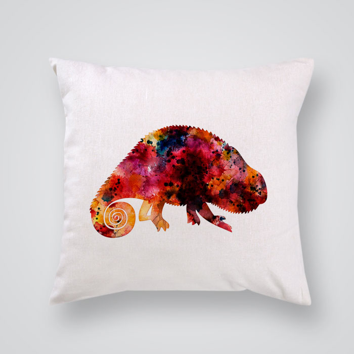 Throw Pillow Cover Red Iguana Print - By Artollo
