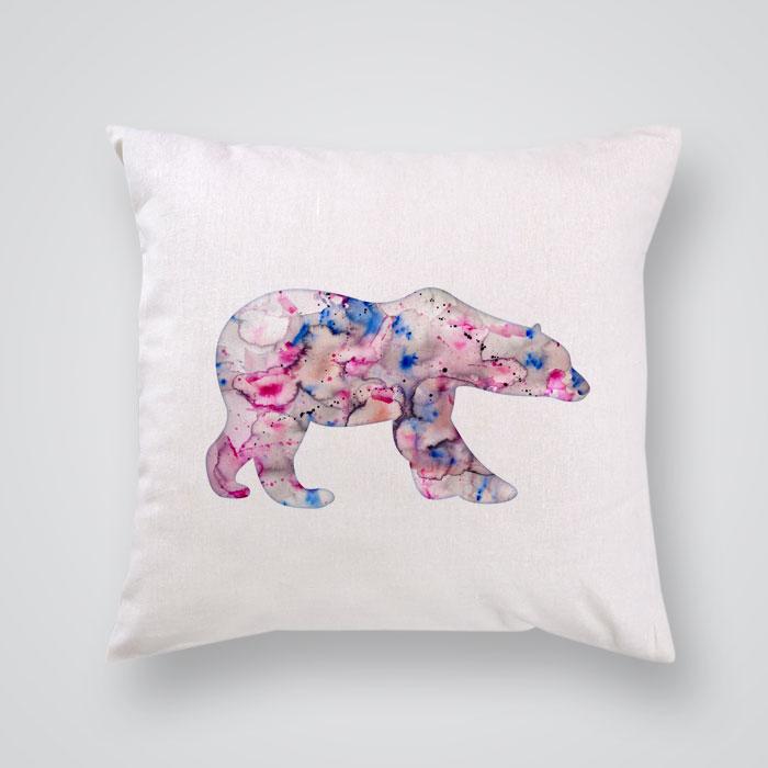 Bear Throw Pillow Covers : Throw Pillow Cover Pink Polar Bear - By Artollo