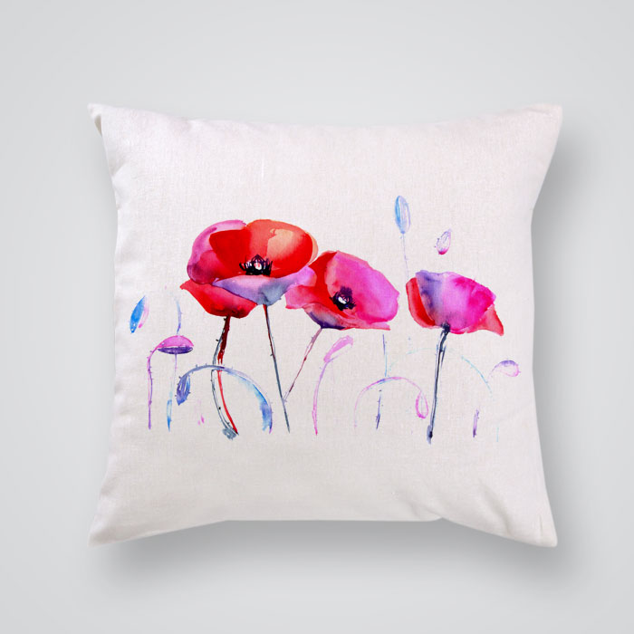 Red Poppy Decorative Pillow : Decorative Pillow Cover Red Poppies - By Artollo