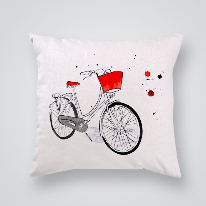 Throw Pillow Red Bike Print - By Artollo