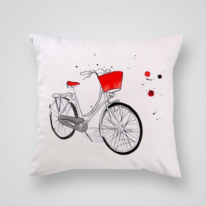 Throw Pillows With Bikes : Throw Pillow Red Bike Print - By Artollo
