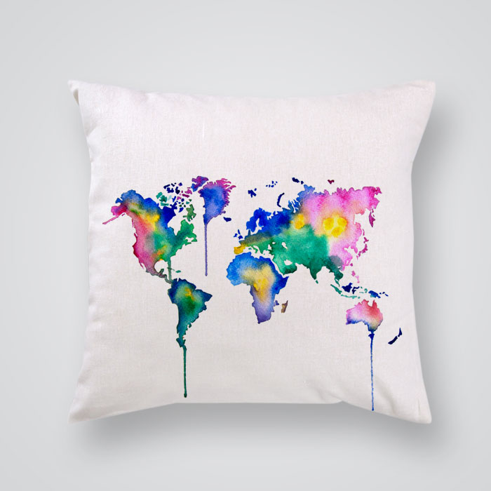 Throw Pillows With World Map : Throw Pillow Cover Colorful World Map - By Artollo