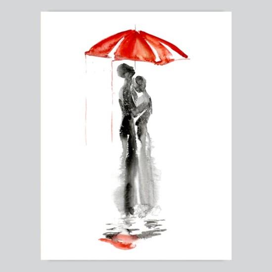 Under Umbrella Watercolor Painting