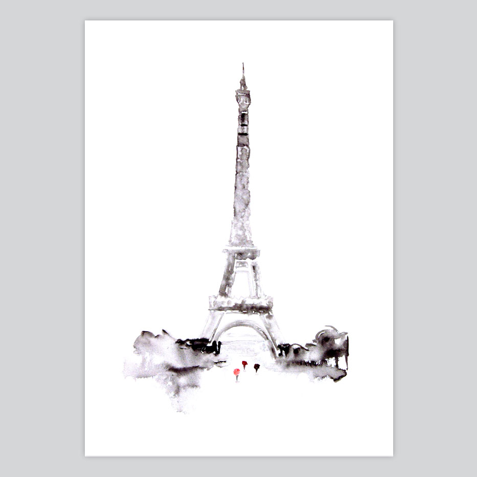 photograph about Printable Pictures of the Eiffel Tower called Watercolor Print Eiffel Tower