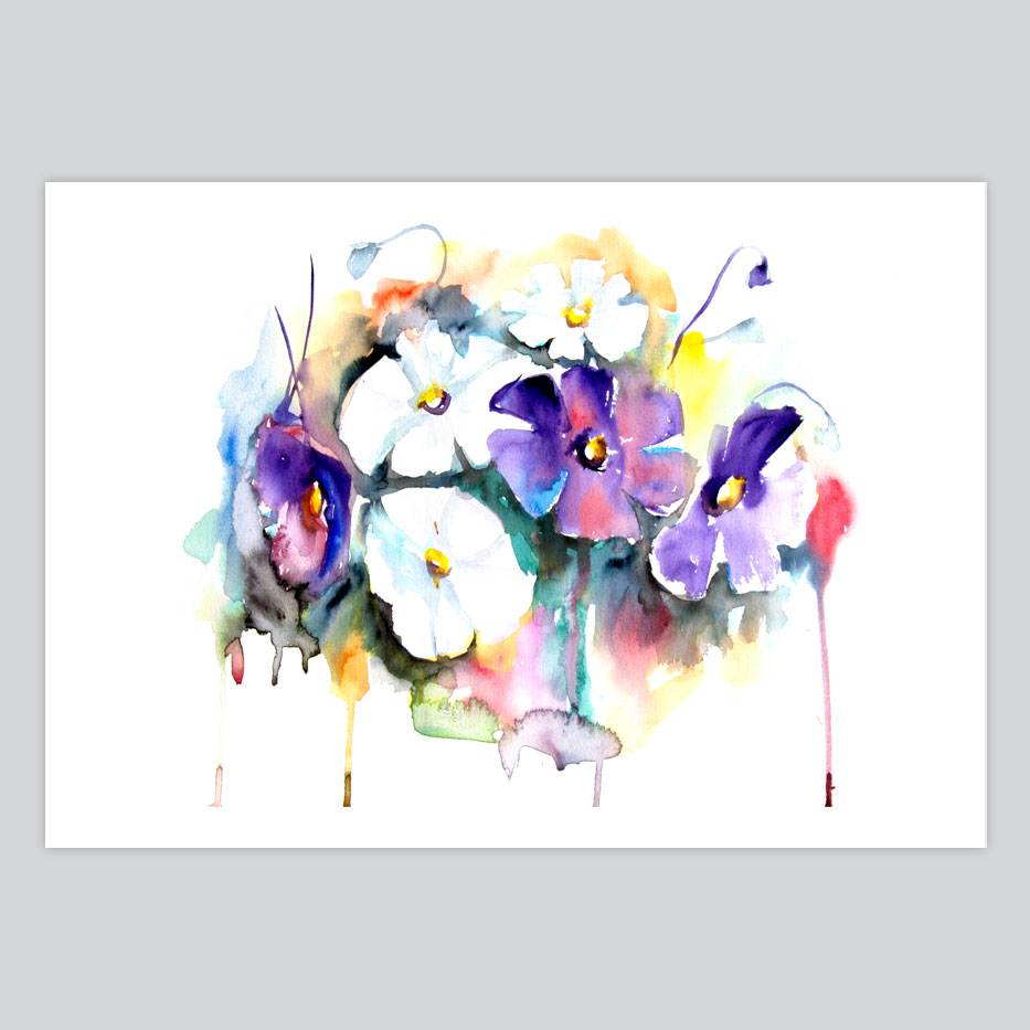Watercolor print white and purple flowers by artollo white and purple flowers sale watercolor print mightylinksfo