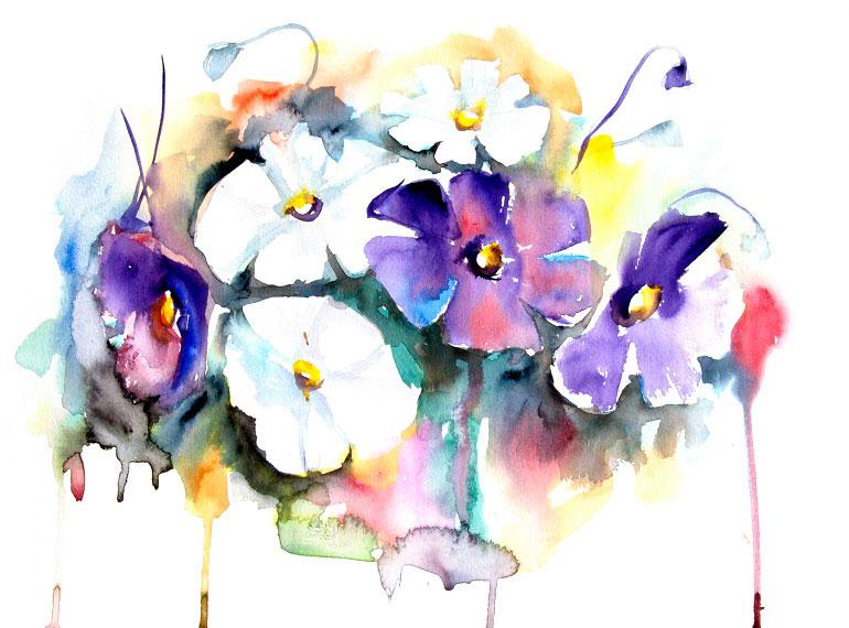 Watercolor print white and purple flowers by artollo watercolor print mightylinksfo