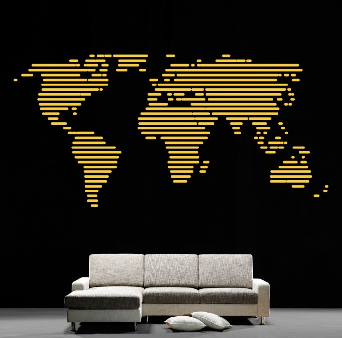 Cool Wall Stickers Map Of The World By Artollo