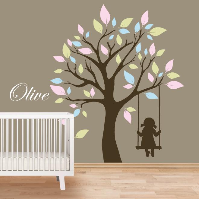 Girl On Swing Wall Murals For Nursery By Artollo