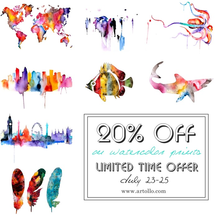 limited offer watercolor prints July Artollo