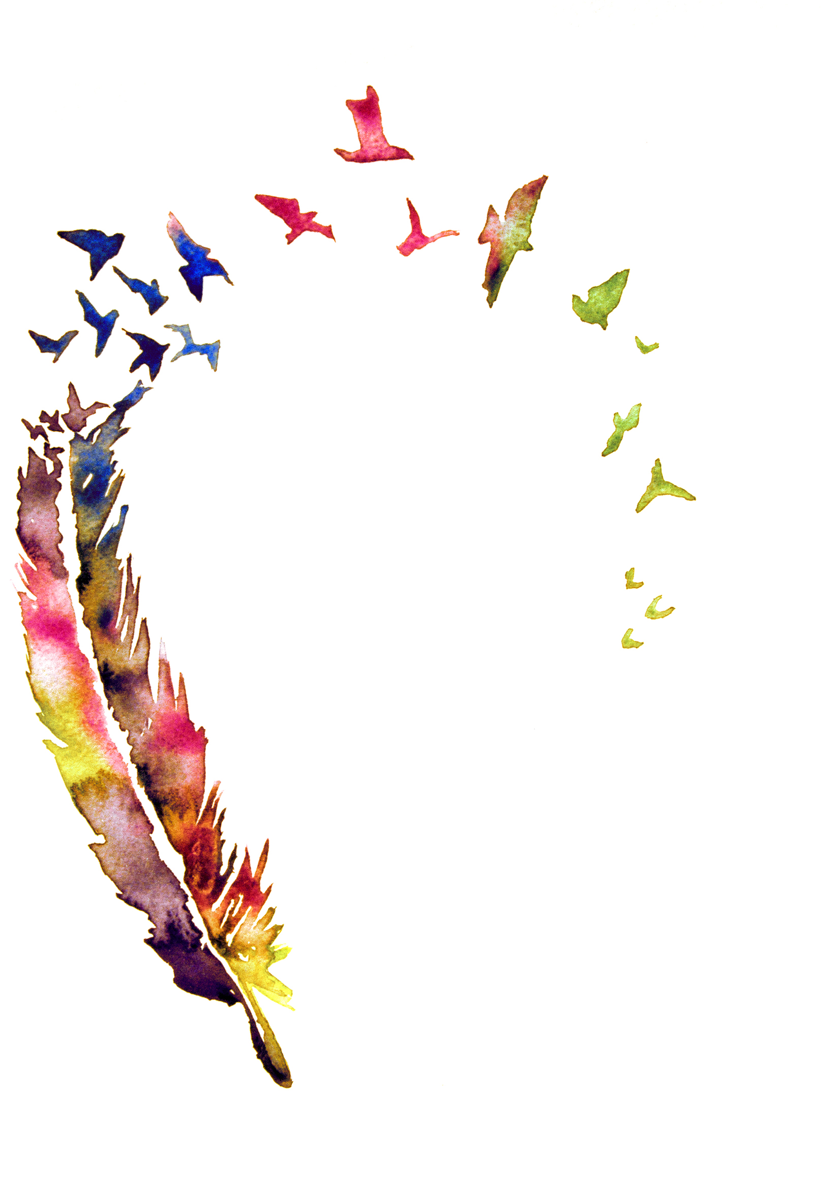 Feather With Birds Downloadable Image Watercolor