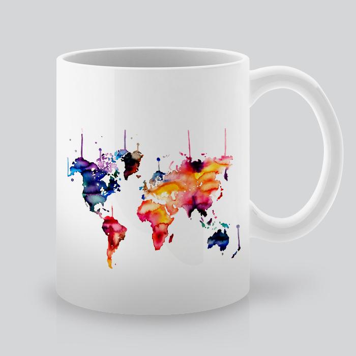 printed mug with world map by artollo