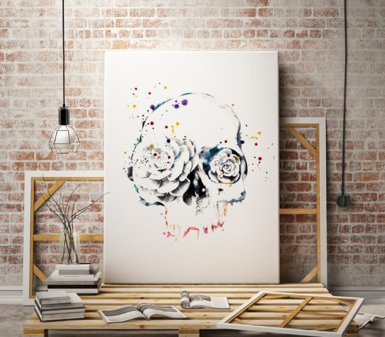 Wall Art Skull with Rose