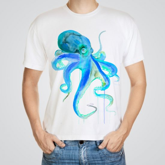 Blue octopus tee