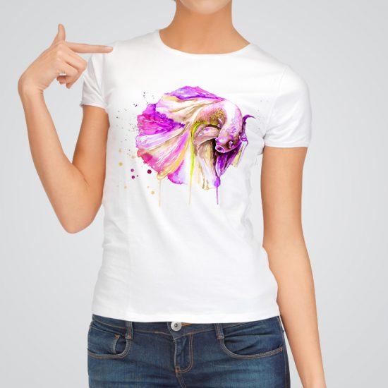 Pink Betta fish art t-shirt