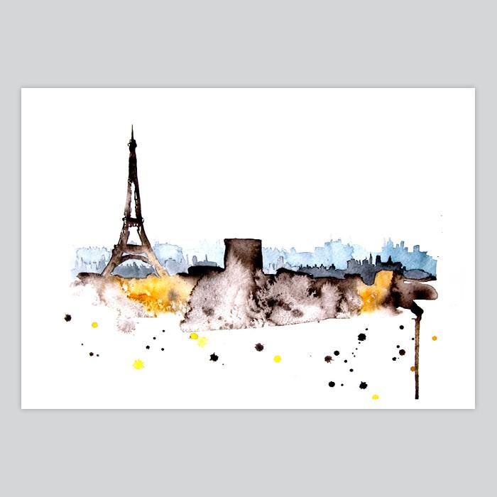 Brand-new Paris Watercolor Art Print - By Artollo RQ48